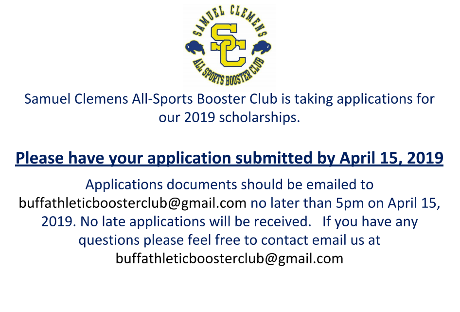 2019 Clemens All-Sports Booster Club Scholarship Information