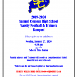 2019-2020 Varsity Football & Trainers Banquet Information
