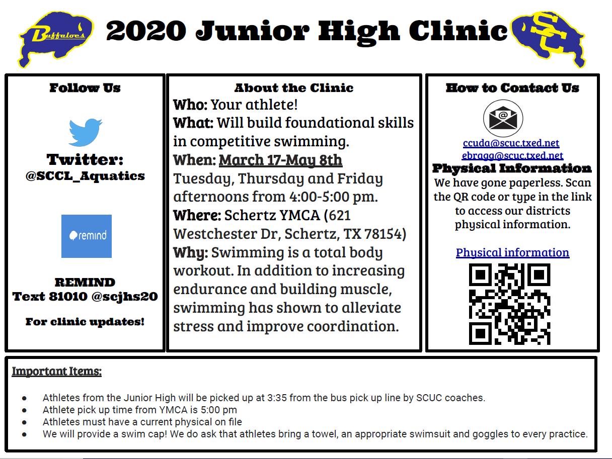 Clemens – Jr. High Swim Clinic Information