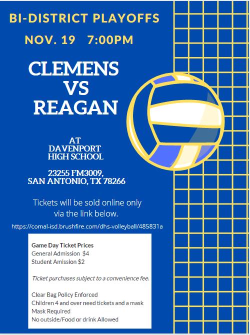 Clemens Volleyball Bi-District Playoff Information