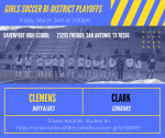 Clemens Girls Soccer Bi-District Information