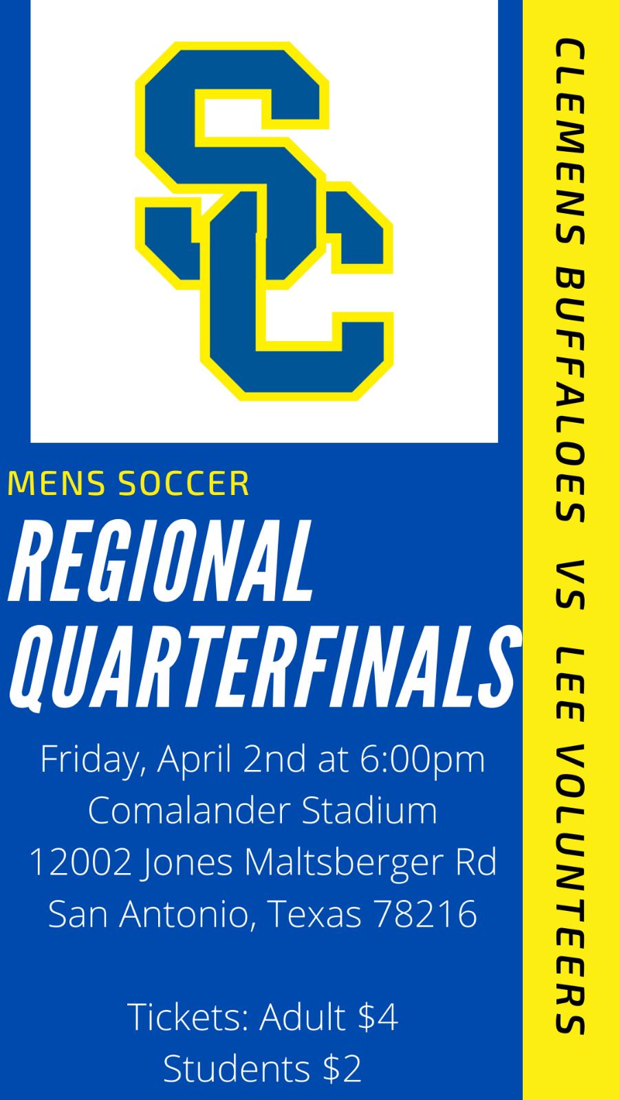 Clemens Mens Soccer Regional Quarterfinals Information