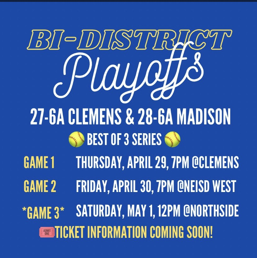 Clemens Softball Bi-District Playoff Information