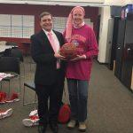 Teacher Honored at Girls Basketball Game