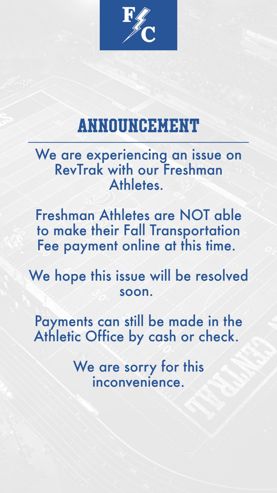 RevTrak Issue for Freshman Athletes