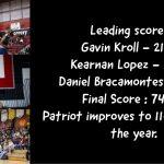 PHS Boys Basketball Patriot 74 Norte Vista 44