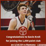 Patriot Boys Basketball Gavin Kroll hits 1000 Point Mark