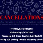 Sept. 2-6th Athletic Cancellations