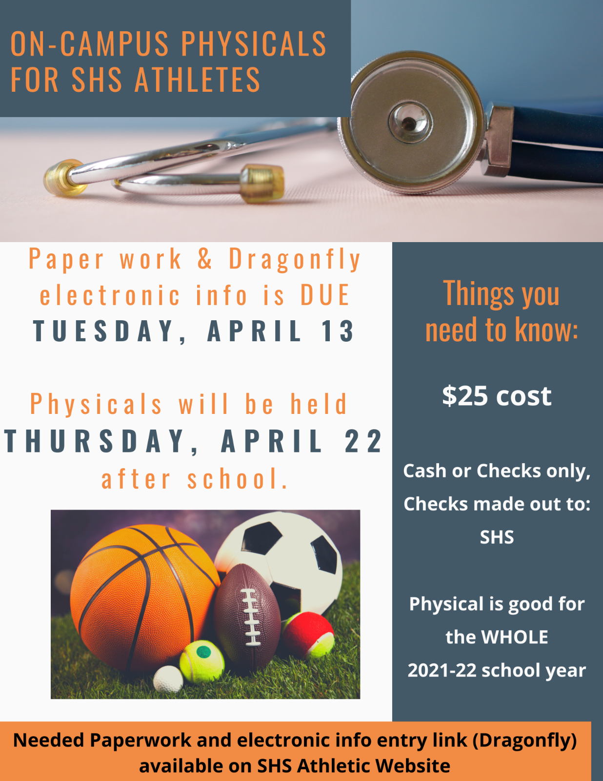 On Campus Physicals offered April 22