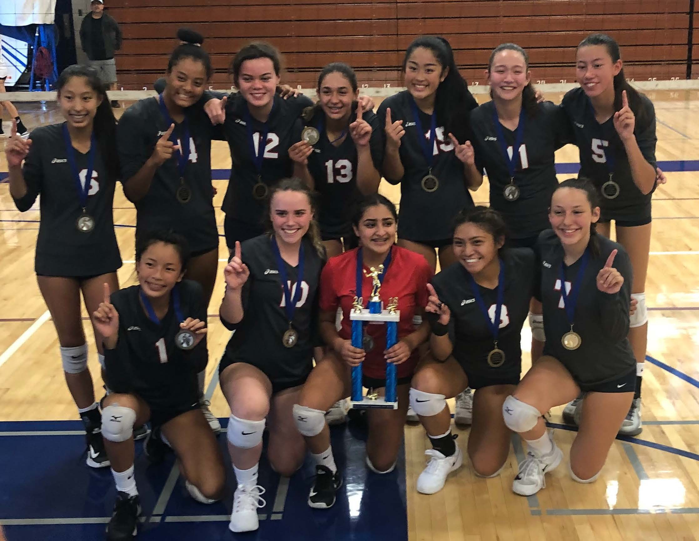 Girls JV Volleyball takes 1st place at the Irvington Tournament!