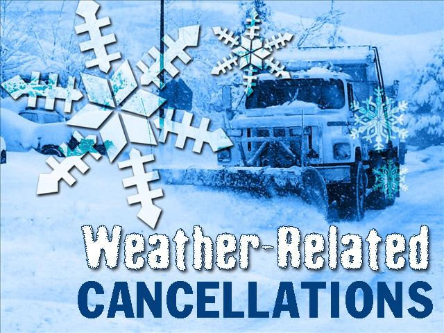 Cancellations for Wednesday, 12/13/17