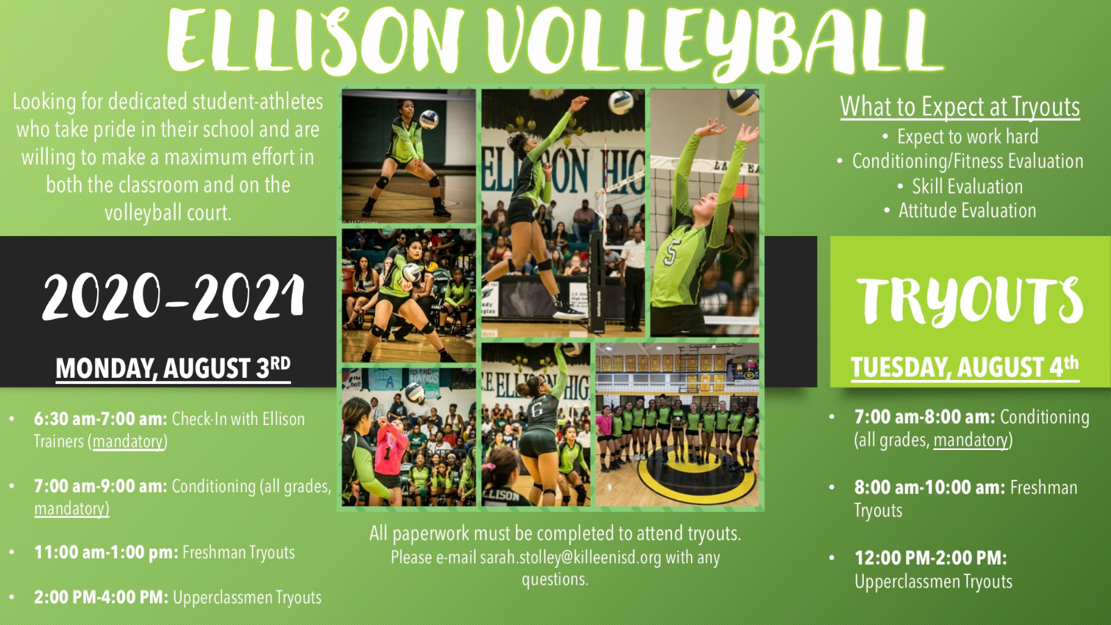 2020-2021 Ellison Volleyball Tryouts