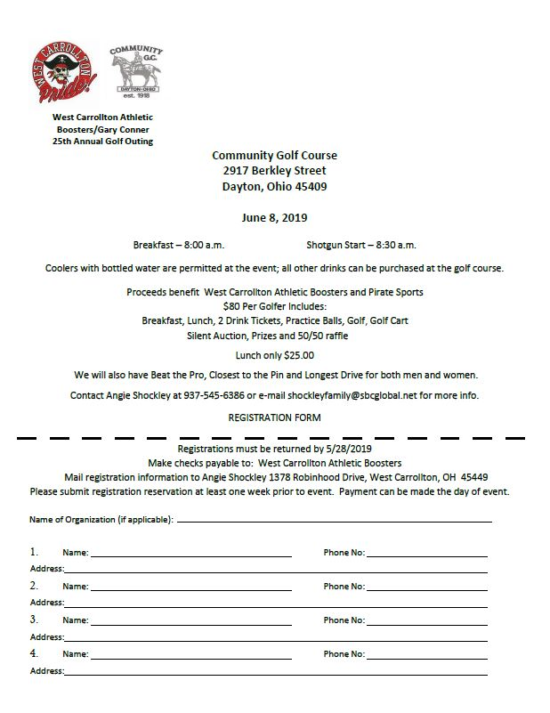 West Carrollton Athletic Booster Golf Outing