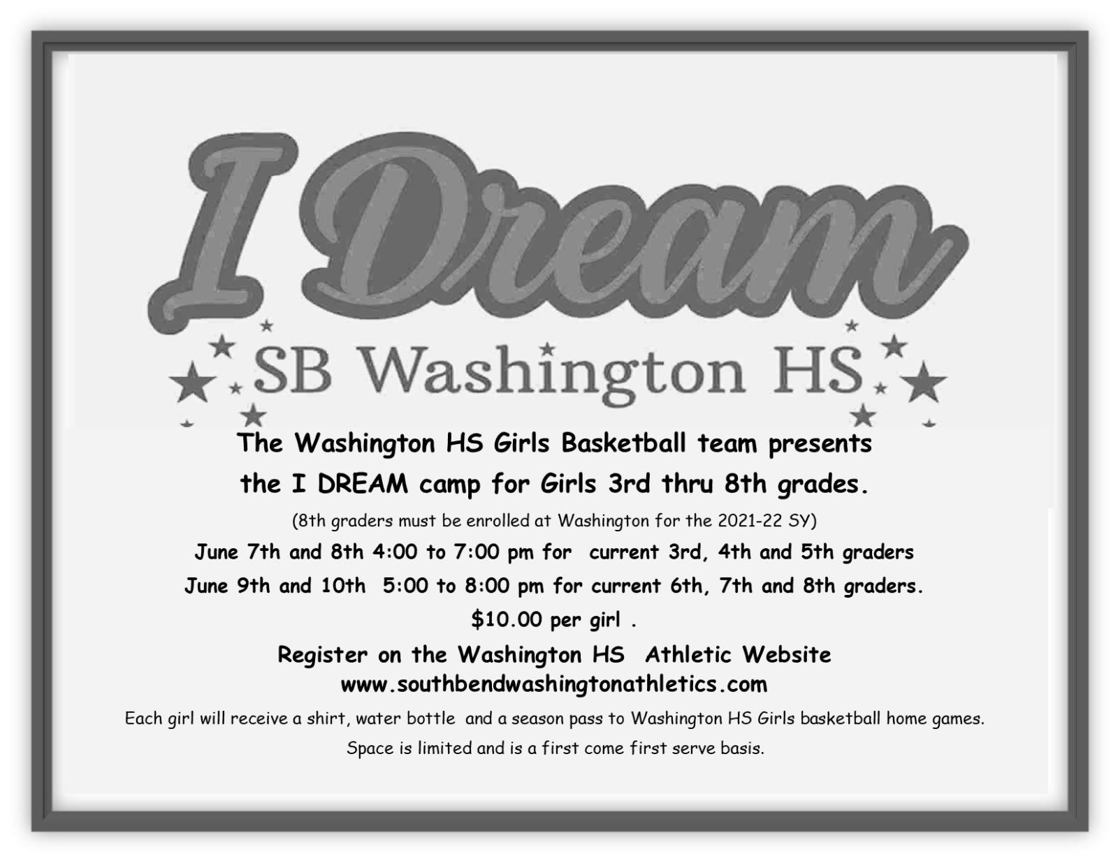Washington Girls Basketball Camp for 3-8 grade