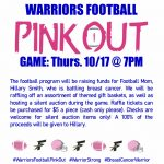 2019 Warriors Football PINK OUT Game Information