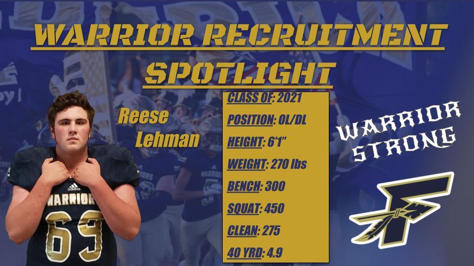 Warrior Football Spotlight Player of the Week!
