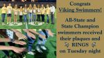State Champion Viking Swimmers Awarded Their Rings