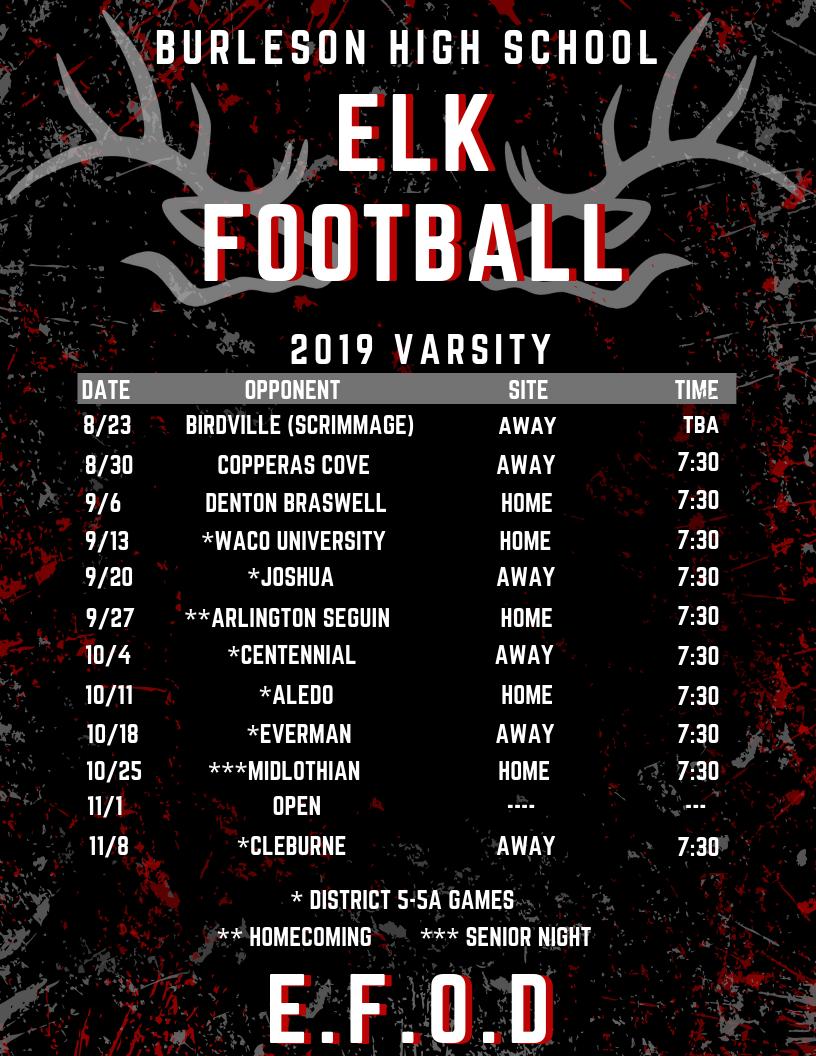 2019 Football Schedule