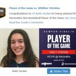 Girls Varsity Basketball beats Whittier Christian 48 – 40