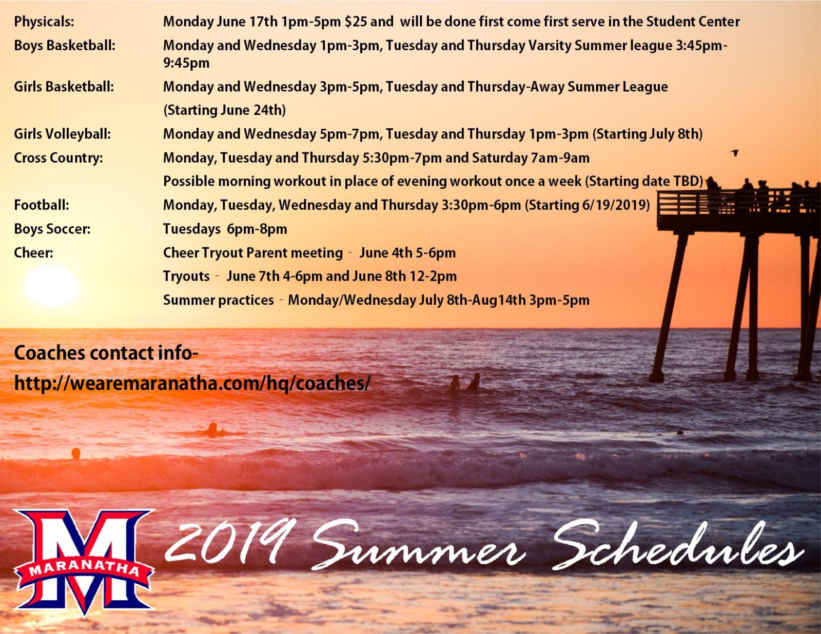 *UPDATED* Summer Practice Schedules (6-22-19)