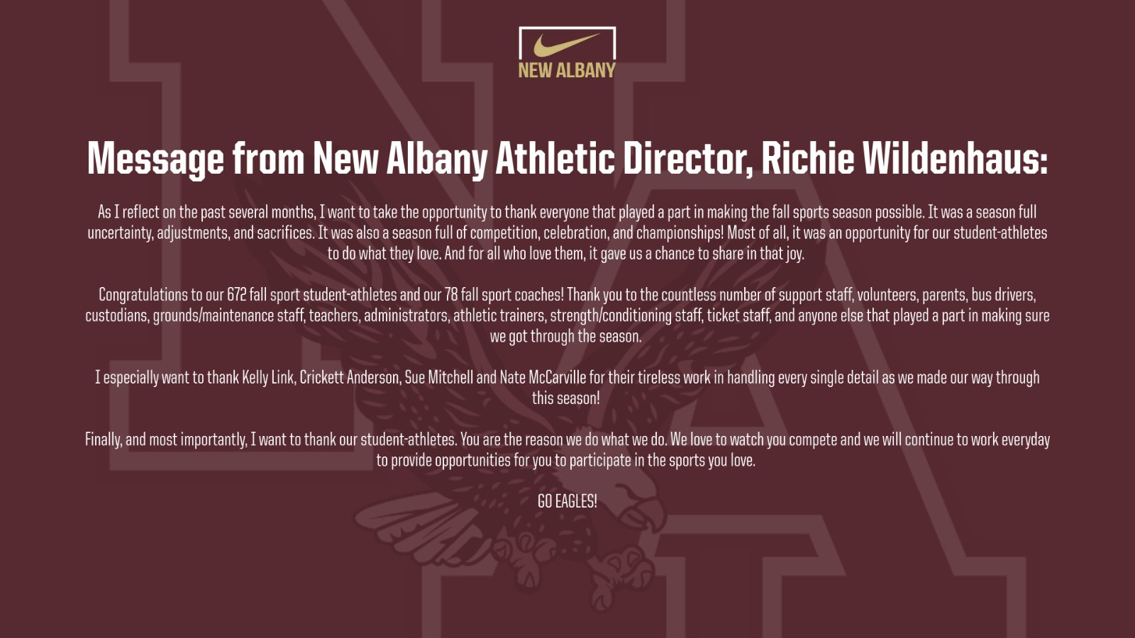 Reflecting on Fall Sports (Message from New Albany AD, Richie Wildenhaus)