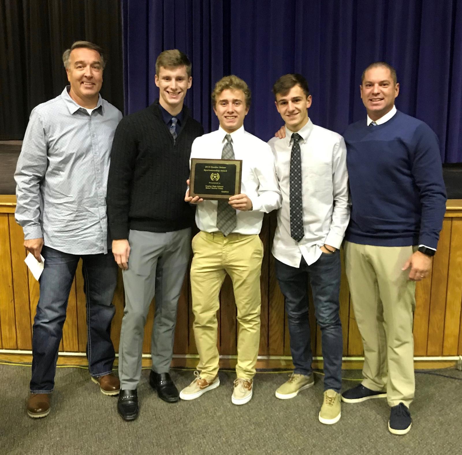 Boys Soccer Receives GASOA Sportsmanship Award
