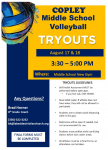 Middle School Volleyball Tryout Information