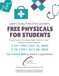 Free Physicals for Students 7/21 & 7/28