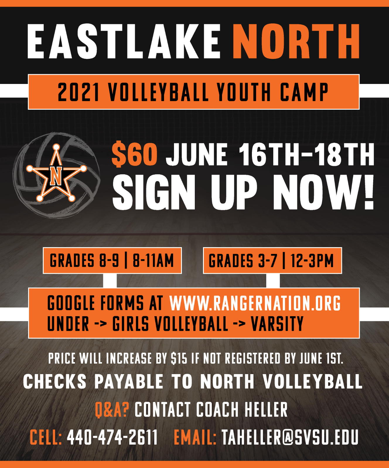 Eastlake North 2021 Volleyball Youth Camp-June 16-18