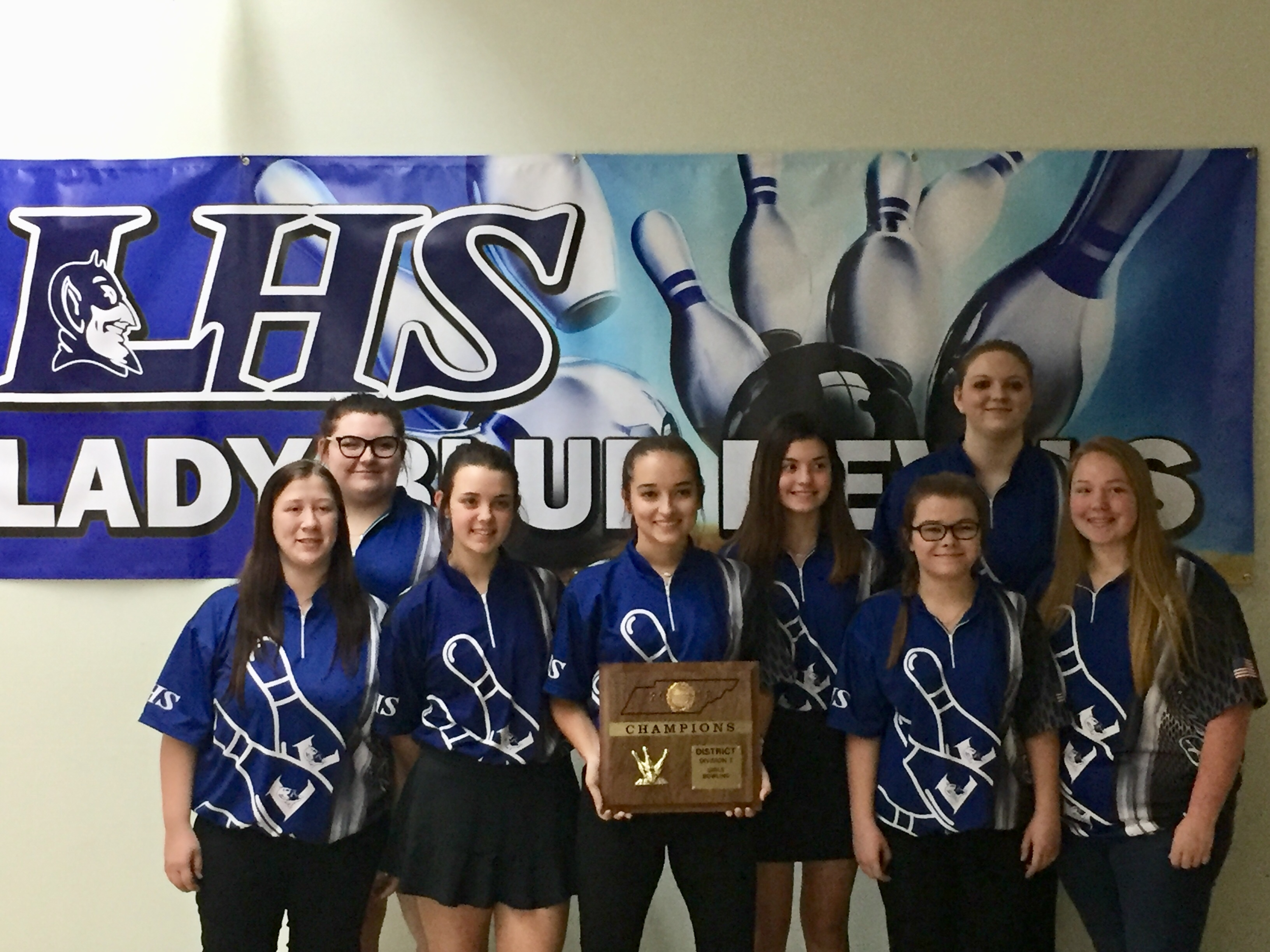 LHS Lady Blue Devils Bowling Team District Awards