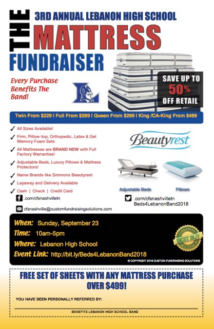 3rd Annual Band Mattress Fundraiser will be on Sunday September 23rd from 10am-5pm