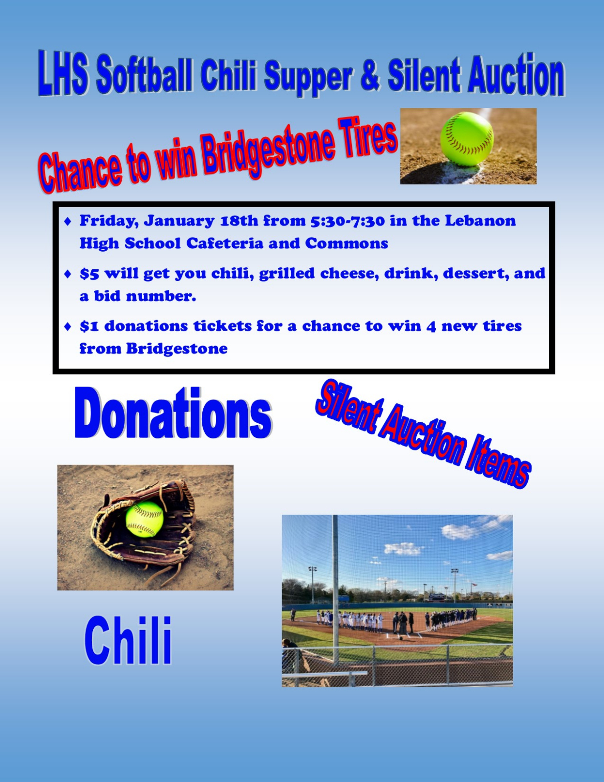 Softball Chili Supper and Silent Auction Tonight from 5:30-7:30 in the LHS Commons and Cafeteria