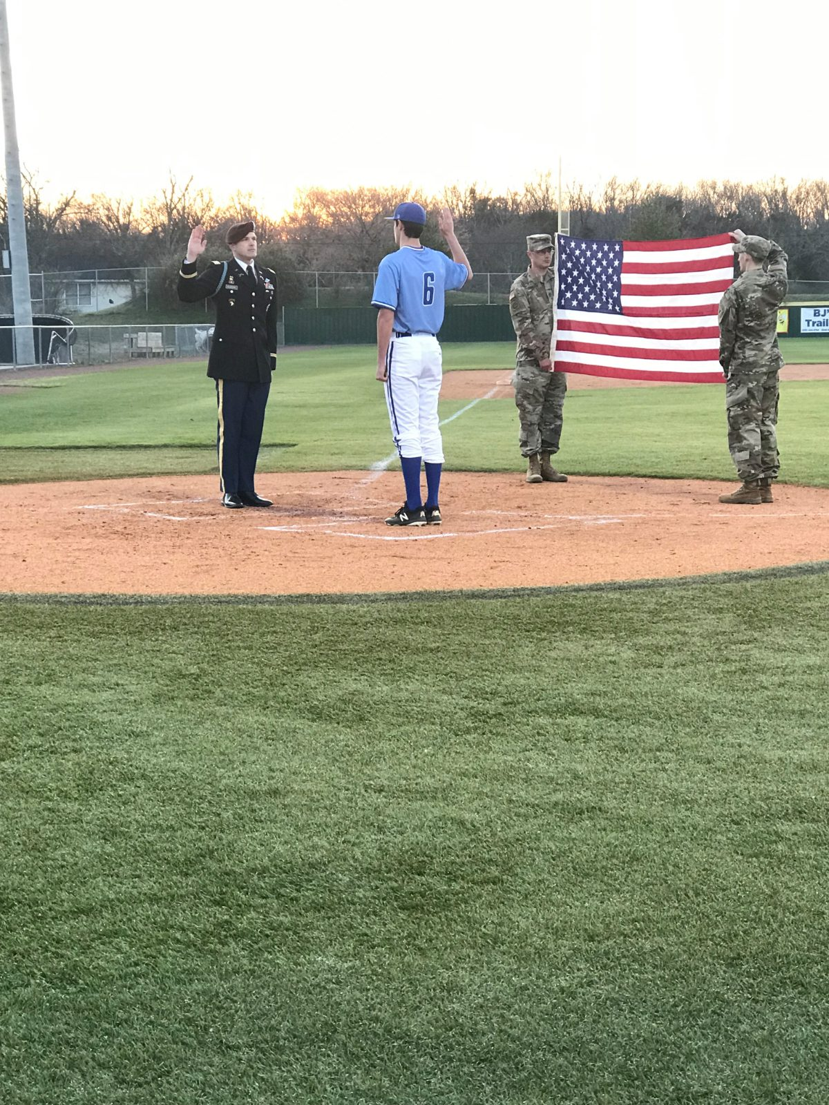 LHS Pitcher, Wyatt Simmons, sworn into the US Army just before the 1st pitch