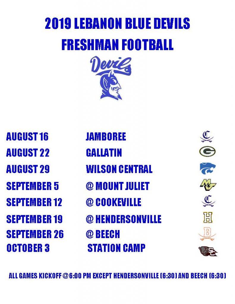 freshman football schedule