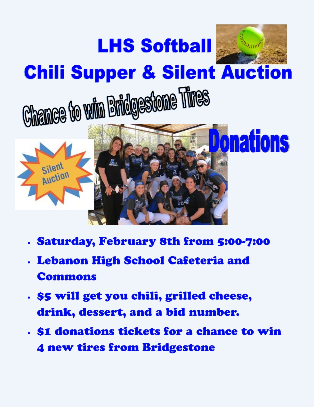 Softball Chili Supper and Silent Auction Fundraiser February 8th