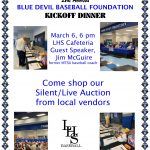 Baseball First Pitch Dinner–Silent Auction, Live Action and Dinner catered by Dickey's BBQ–March 6th at 6pm