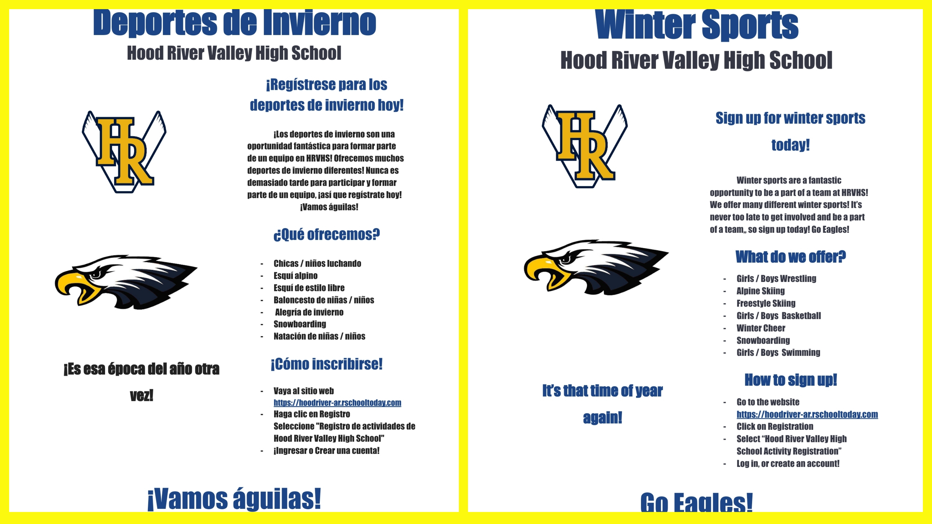 Sign up for Winter Sports – Tryouts next week!
