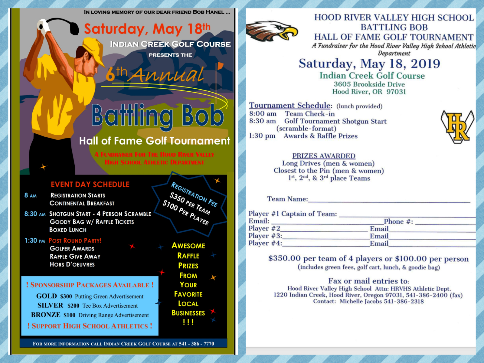 HRVHS Hall of Fame Golf Tournament  – Saturday,  May 18!