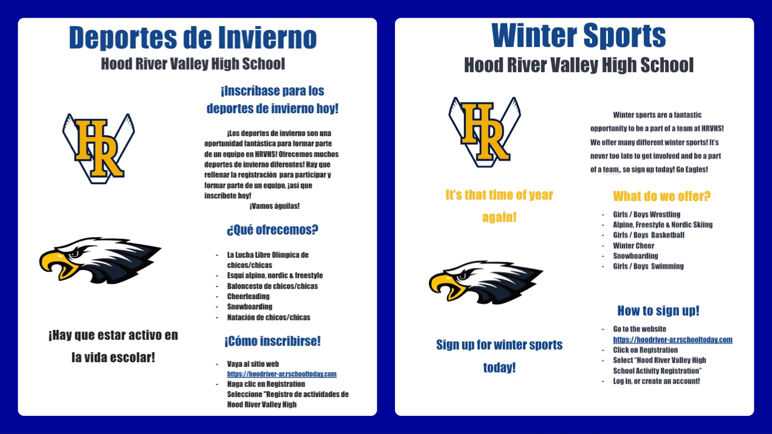 Sign up for Winter Season Sports 🏀 🤼♂️🏊♀️⛷🤼♀️🏊♂️🏂 & more. 1st practice is Monday, Nov. 18!