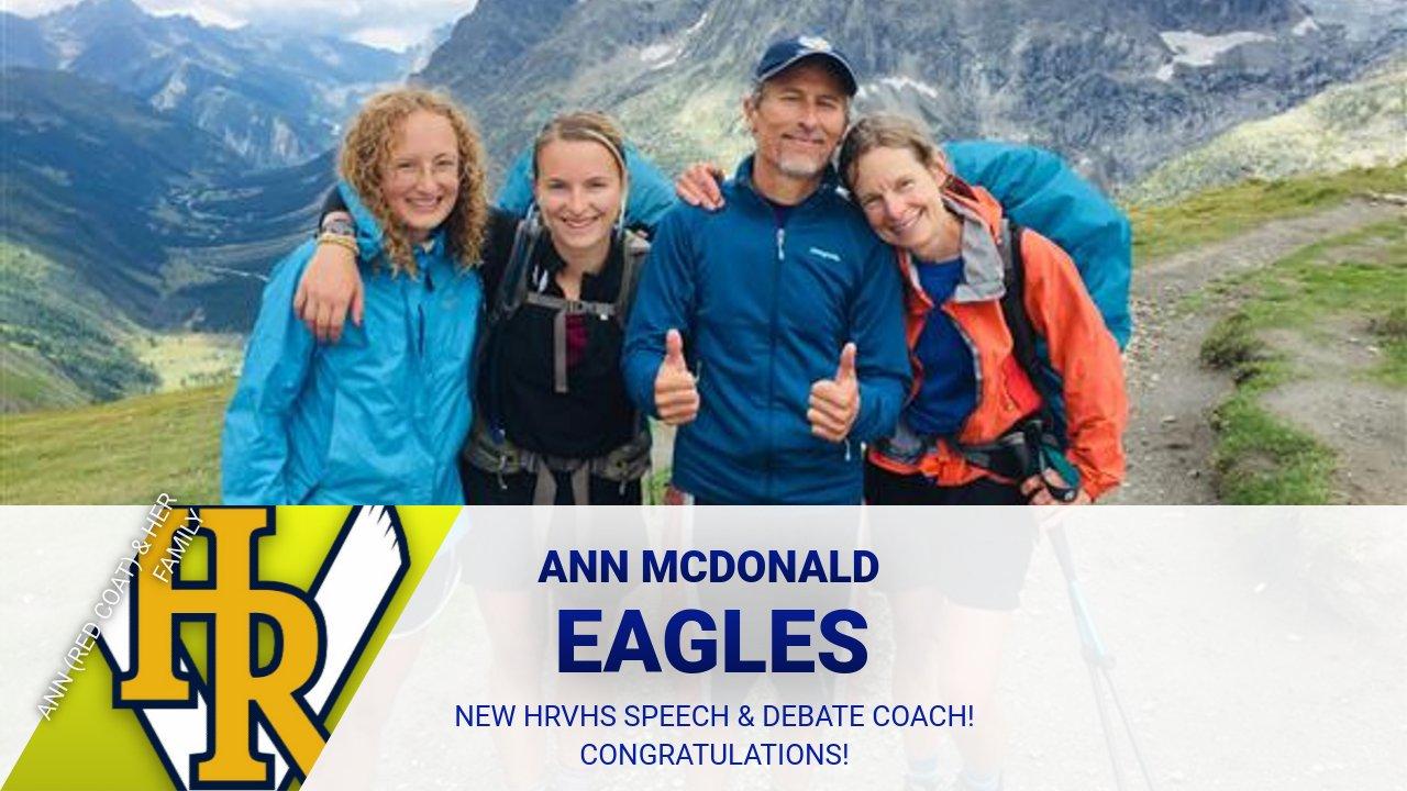 HRVHS hires Ann McDonald as new Speech & Debate Coach! 🦅