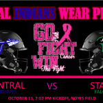 "CENTRAL HOSTS ""PINK OUT"" AGAINST STALEY"