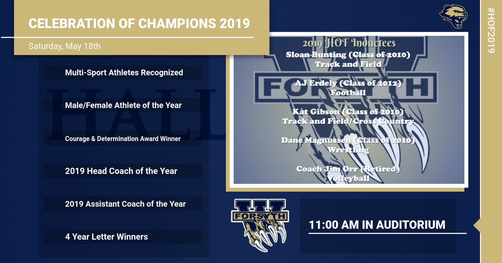 Celebration of Champions and 2019 HOF Set for Saturday, 5/18 at 11:00 am in Auditorium