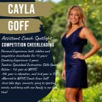 Athletic Department Asst Coach Spotlight for September! Cayla Goff, Assistant Comp & Basketball Cheer!