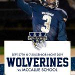 West v. McCallie on Fri at 7:30! Senior Night 2019!