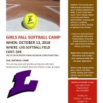 Girls Softball Camp: Oct. 13