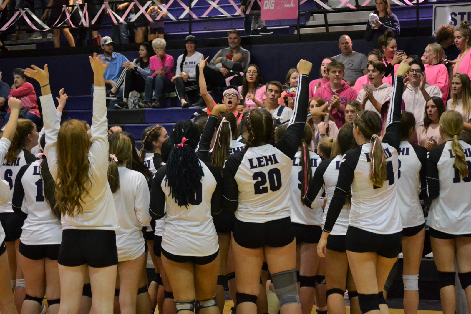 "Volleyball wins ""DIG PINK"" game against Mt. Ridge"