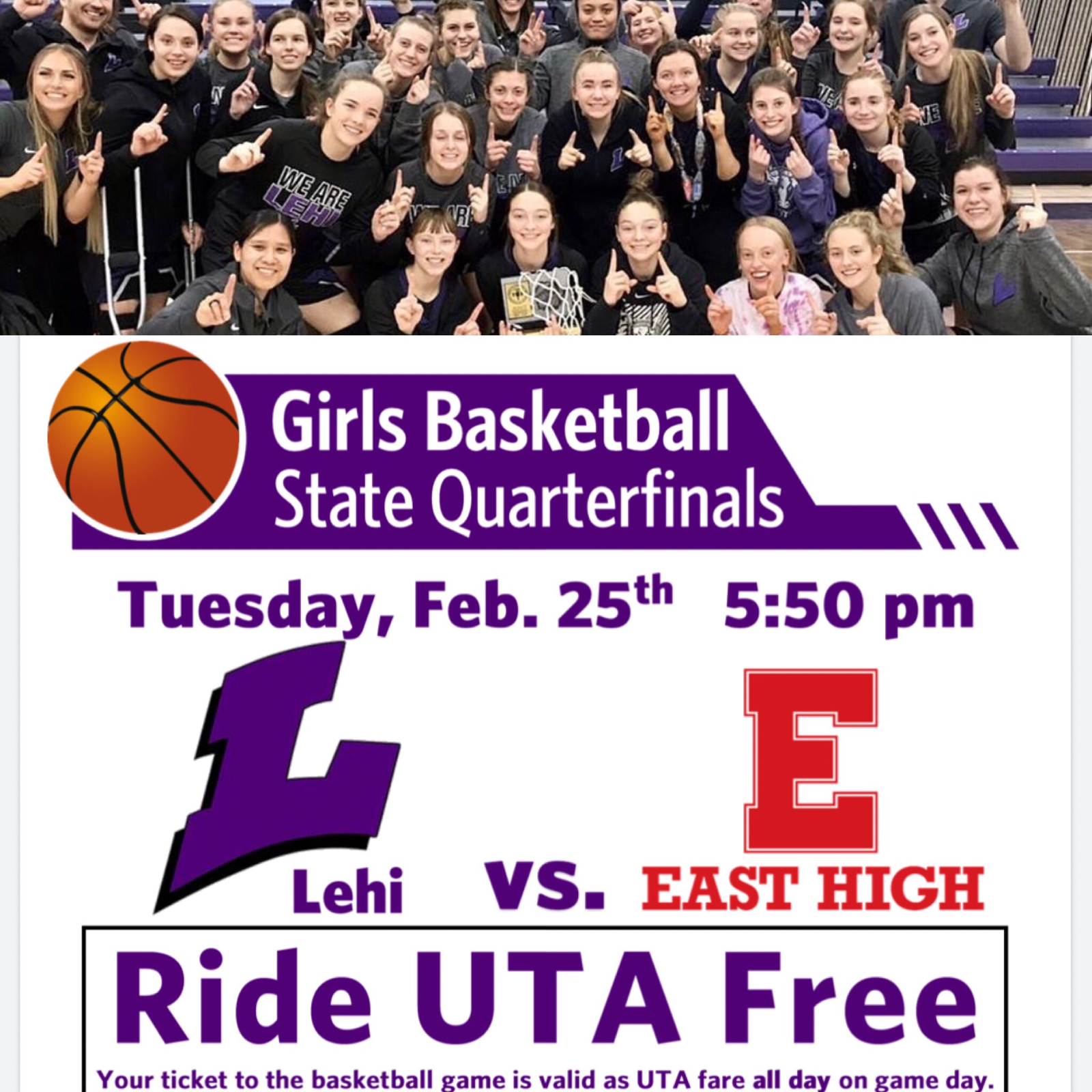 Hey Lehi fans, come out and cheer our Girls Basketball team in the  Quarterfinals tonight at 5:50 pm against East High @ Huntsman Center at University of Utah . Tickets $10 Adults $5 for students and seniors