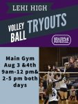 LHS Volleyball tryouts  are Monday Aug 3 & 4th 9-12 pm and 2-5 pm both days, Parent meeting will be right after practice Wed Aug 5 from 8-9