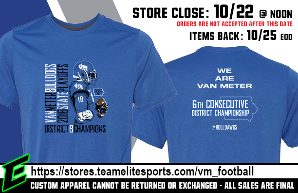 2018 Van Meter Playoff/District Championship Apparel Available NOW (Orders Due by Monday, October 22nd @ 12:00 PM)