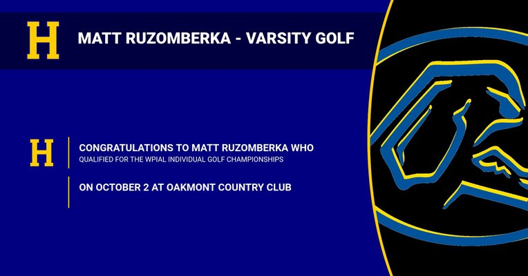 Matt Ruzomberka Qualifies for WPIAL Individual Golf Championships